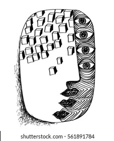 The sketched illustration of the fantasy head with the surreal details and lots of cubes hand drawn with the ink pen