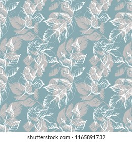 Sketched Leaves Seamless Pattern. Hand Drawn Illustration.