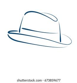 Sketched Mans Fedora Hat Design Template Stock Illustration ...