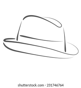 vintage mans fedora hat label isolated stock vector royalty free