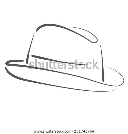 sketched mans fedora hat design template stock illustration