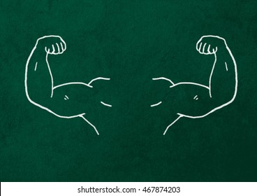 Sketched strong and muscled arms.
