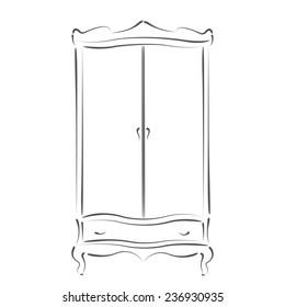 Sketched vintage wardrobe isolated on white background.