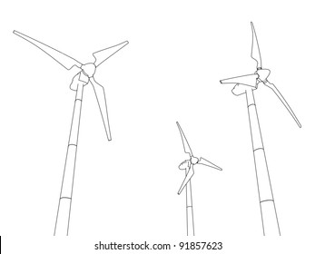 Sketched wind turbines on a white background, representing notions such as green technologies, sustainable development, alternative energy sources as well as respect of the environment