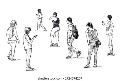 Sketches of casual young city pedestrians on the street