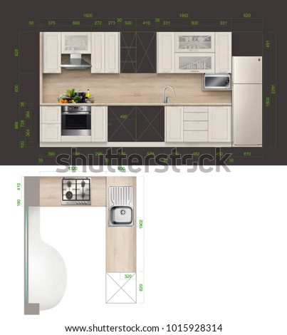 Sketches Furniture Design Options Cabinet Drawing Stock Illustration ...