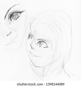 sketches of girl's faces in anime style hand-drawn by black pencil on white paper