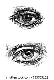 Sketches of the human eyes