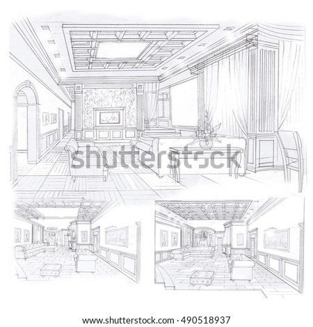 Sketches Of The Interior Of The Living Room And Dining Room.Options.Handmade  Graphics