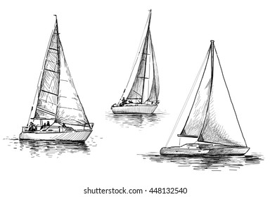 sketches of the sailboats
