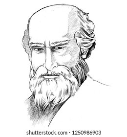 Sketching of Archimedes portrait was drawn by hand.