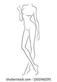 Sketching outline of abstract attractive female body, black over white artwork
