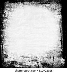 sketchy black and white grunge background painted frame on wall texture with copy space
