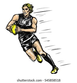 Sketchy cartoon comics style raster isolated illustration of australian rules football player. Hand drawn sporty man playing aussie rules, Afl.