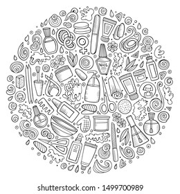 Sketchy hand drawn set of Manicure cartoon doodle objects, symbols and items. Round composition