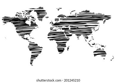 World map made horizontal lines stock vector royalty free 89087263 sketchy world map black color gumiabroncs Image collections