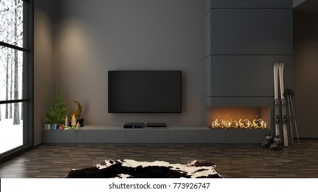Ski board, pole and boots in grey living room with fireplace, TV, and christmas decoration - 3D rendering