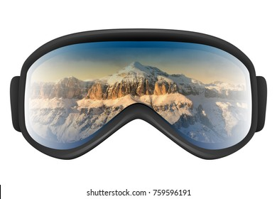 Ski goggles with reflection of mountains isolated on the white background. Realistic 3D illustration.