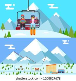 Ski resort holidays skier snowboarder go up mountain funicular flat design  illustration