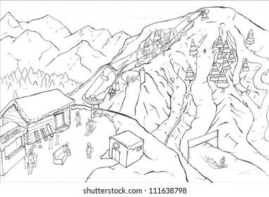Ski Resort Scene / Theme / Illustration