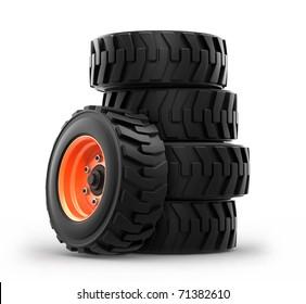 skid steer loader wheels isolated on white background. 3d
