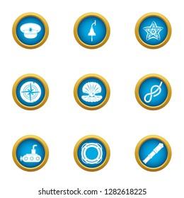 Skiff icons set. Flat set of 9 skiff icons for web isolated on white background