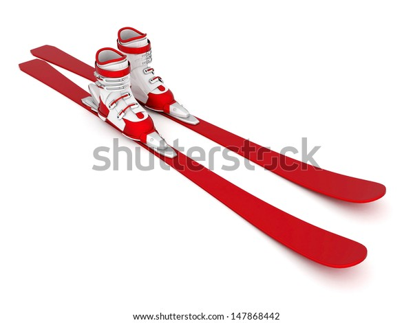 skiing isolated on a white background