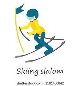Skiing slalom icon. Isometric of skiing slalom icon for web design isolated on white background
