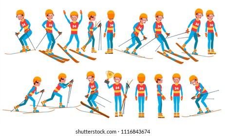 Skiing Young Man Player. Man. Ski Resort. Skiing In The Mountains. Flat Athlete Cartoon Illustration