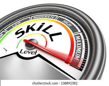 skill level conceptual meter indicate maximum, isolated on white background