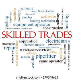 Skilled Trades Word Cloud Concept with great terms such as plumber, welding, mason and more.