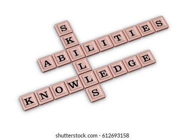 Skills, Knowledge and Abilities Crossword Puzzle. Qualities for Job Candidates. 3D illustration Rose Gold crossword on white background.