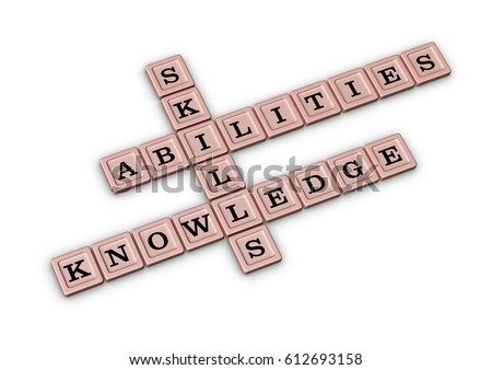 skills knowledge and abilities crossword puzzle qualities for job candidates 3d illustration rose