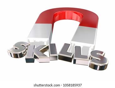 Skills Talents Expertise Magnet Letters Word 3d Illustration