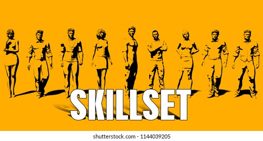 Skillset Concept With Business Professionals Standing in a Row