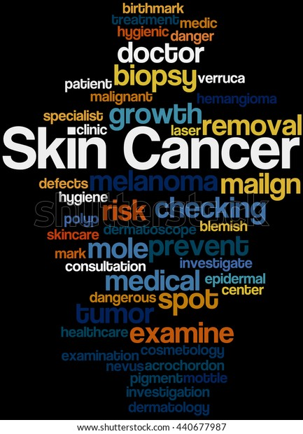 Skin Cancer, word cloud concept on black background.