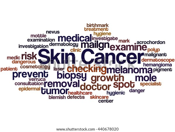 Skin Cancer, word cloud concept on white background.