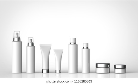 skin care cosmetics large and small size with copy space 3d rendering