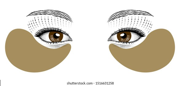 Skin care, Hydrogel Eye Patch. Lifting mask for the skin around the eyes. Eyes eastern girls. Vintage prints stylized drawing.