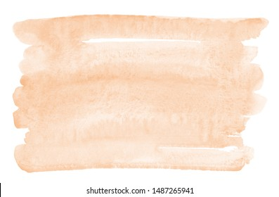 Skin, flesh color, light rose beige watercolor rectangle background, text frame template. Horizontal brush stroke, smear watercolour shape with stains. Painted hand drawn aquarelle uneven edge texture