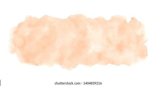 Skin, flesh color, natural rose beige watercolor rectangle background, frame. Elongated, rounded watercolour shape with stains. Painted template for banners, uneven edge. Hand drawn aquarelle fill.