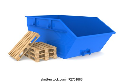 Skip Container. Blue Skip with a pile of pallets.