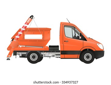 Skip loader truck on the white background. Raster illustration.