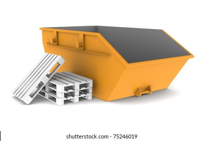 Skip. Orange with some pallets. Isolated on white. Part of a Warehouse series.
