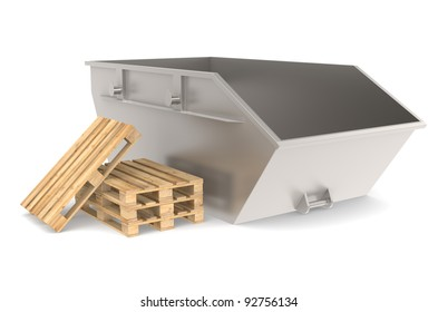 Skip. Steel Skip with a pile of pallets. Part of warehouse and logistics series.