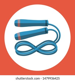 Skipping rope icon. Blue skipping rope on a red background. Sports Equipment. Illustration.