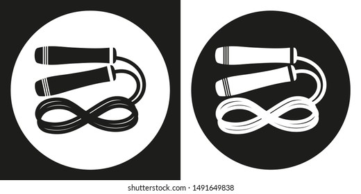 Skipping rope icon. Silhouette skipping rope on a black and white background. Sports Equipment. Illustration.