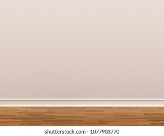 skirting board. wooden parquet and white walls. 3d illustration