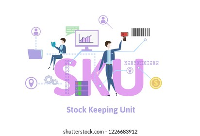 SKU, stock keeping unit. Concept with keywords, letters and icons. Colored flat illustration on white background. Raster version.