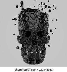 Skull from abstract liquid